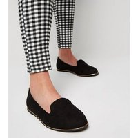 Wide Fit Black Suedette Metal Trim Loafers New Look