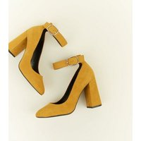 Wide Fit Mustard Flare Heel Ankle Strap Courts New Look