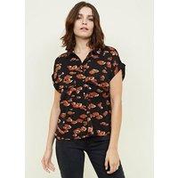 Black Camo Leopard Print Short Sleeve Shirt New Look