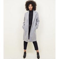 Tall Pale Grey Collared Longline Coat New Look