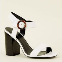 Cream Tortoiseshell Resin Ring Buckle Block Heels New Look
