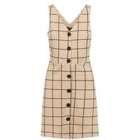 Camel Grid Check Button Through Pinafore Dress New Look