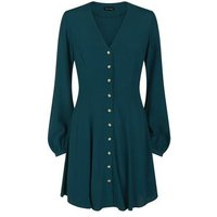 Dark Green Balloon Sleeve Button Front Tea Dress New Look