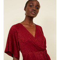 Red Leopard Jacquard Wrap Front Top New Look