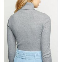 Tall Pale Grey Ribbed Roll Neck Jumper New Look