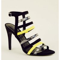 Yellow Faux Snakeskin Colour Block Strappy Stilettos New Look