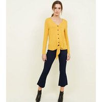 Mustard V Neck Button Tie Front Top New Look