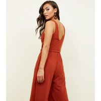 Rust Belted Wide Leg Jumpsuit New Look