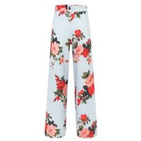 Light Grey Floral Wide Leg Belted Trousers New Look