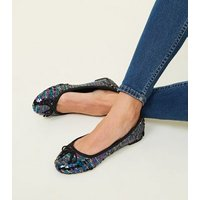 Wide Fit Rainbow Sequin Ballet Pumps New Look