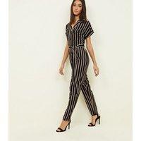 Tall Black Stripe Twill Button Through Jumpsuit New Look