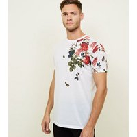 White Floral Shoulder Short Sleeve T-Shirt New Look