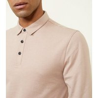 Mens Deep Pink Muscle Fit Long Sleeve Polo Shirt New Look