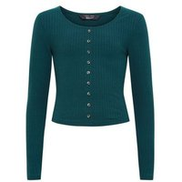 Girls Dark Green Ribbed Button Front Top New Look