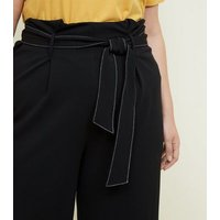 Curves Black Contrast Stitch Paperbag Trousers New Look