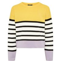 Girls Purple Colour Block Stripe Jumper New Look