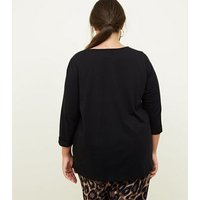 Curves Black Pocket Front Slouchy T-Shirt New Look