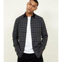 Black Check Long Sleeve Corduroy Collared Shirt New Look