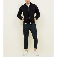 Mens-Navy-and-Green-Check-PullOn-Trousers-New-Look