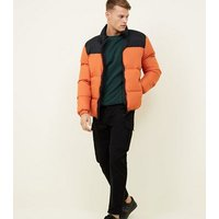 Orange Hooded Colour Block Puffer Coat New Look