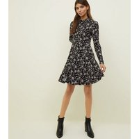 Black Ditsy Floral Soft Touch Shirt Dress New Look