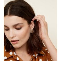 Gold Coin Stud Earrings New Look
