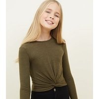 Girls Khaki Ribbed Twist Front Long Sleeve Top New Look