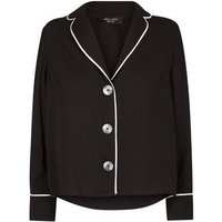 Petite Black Button Front Contrast Piped Shirt New Look