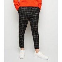 Mens Black Grid Check Slim Leg Cropped Trousers New Look