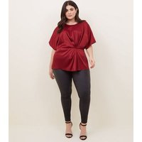 curves-burgundy-herringbone-satin-twist-front-top-new-look