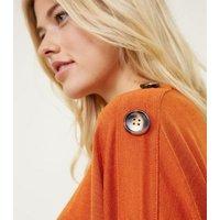 Orange Tie Side Button Sleeve Fine Knit Top New Look