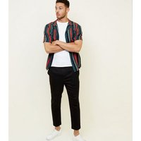 Black Side Piped Pull-On Trousers New Look