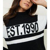 Black Est 1990 Stripe Funnel Neck Jumper New Look
