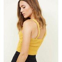 Mustard Ribbed Hem Crochet Bralette New Look