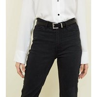 Black Leather-Look Gem Buckle Belt New Look