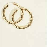 Gold Large Bamboo Hoop Earrings New Look