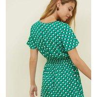 Petite Green Spot Print Shirred Waist Dress New Look
