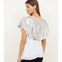 Silver Sequin Cape New Look