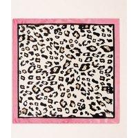 Bright Pink Leopard Border Print Scarf New Look