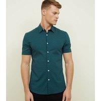 Dark Green Spot Print Muscle Fit Shirt New Look