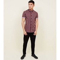 Burgundy Muscle Fit Stripe Printed Shirt New Look