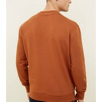 Men's Rust Montreal Embroidered Crew Neck Sweatshirt New Look