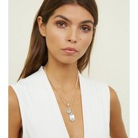 Gold Layered Chain Gem Pendant Necklace New Look