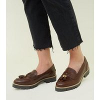 Rust Leather Chunky Sole Loafers New Look