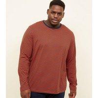 Plus Size Orange Stripe T-Shirt New Look