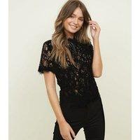Black Cornelli Lace Zip Back Top New Look