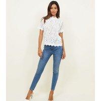 White Cornelli Lace Zip Back Top New Look