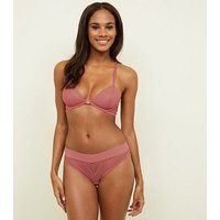 Coral Geometric Lace Front Fastening Underwired Bra New Look