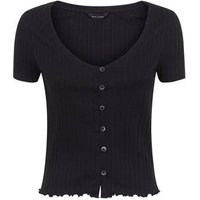 Black Ribbed Button Front Frill Hem T-Shirt New Look