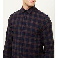 Mens Navy Tartan Check Long Sleeve Shirt New Look